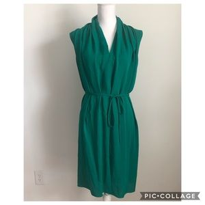 Lanvin 100% Silk Emerald Green Tie Drape Dress